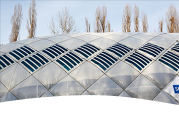 HeliaFilm® solar film on an air dome with PVC membrane in Berlin.