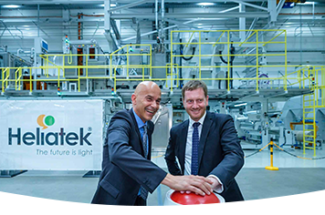 Saxony's Prime Minister Michael Kretschmer and Dresden's Mayor Dirk Hilbert at the opening of Heliatek's series production for organic solar films