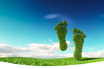 A symbolic green footprint on a green meadow